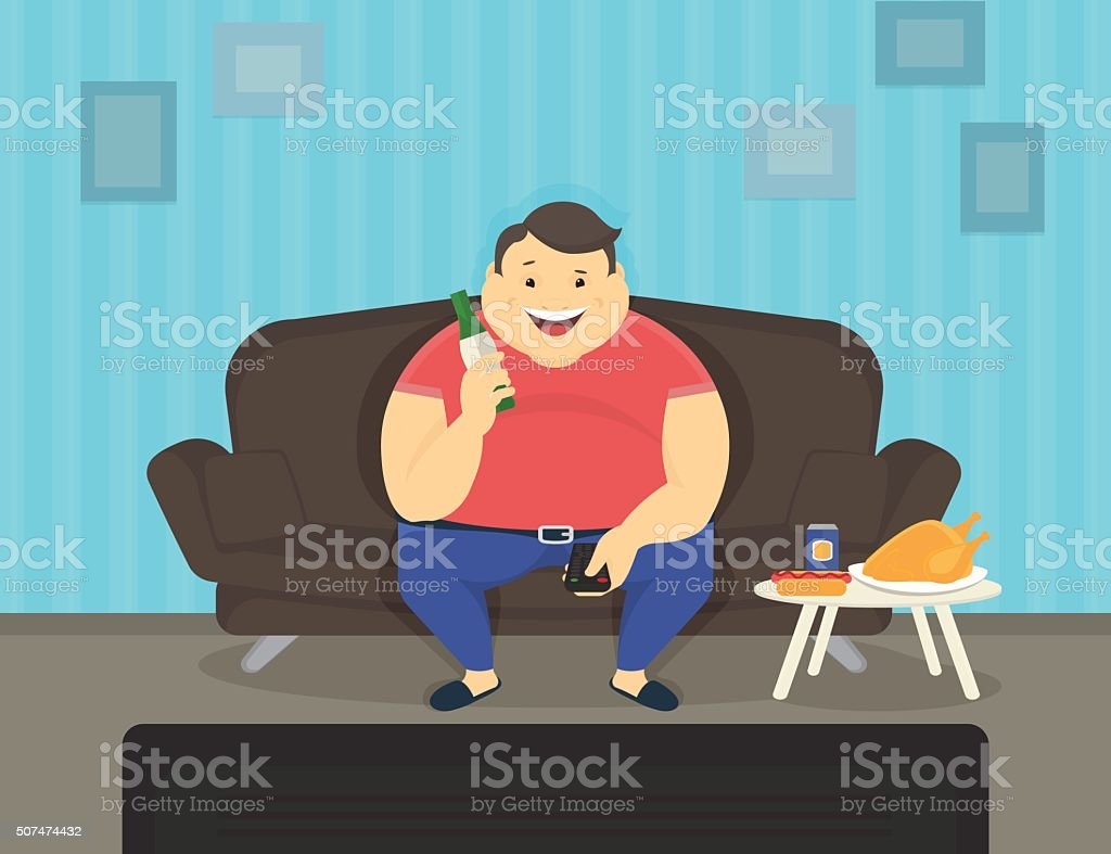 Fat man sitting at home on the sofa watching tv vector art illustration