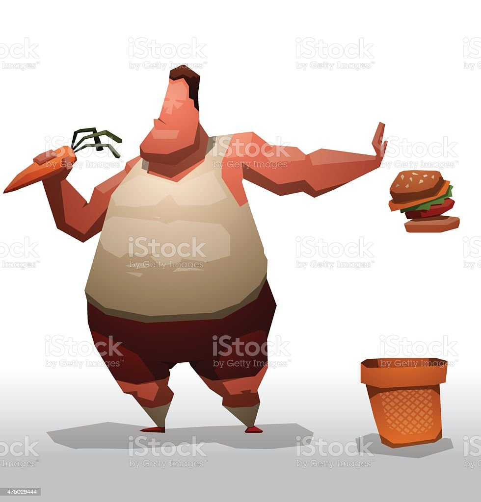 Fat man trying to be better vector art illustration