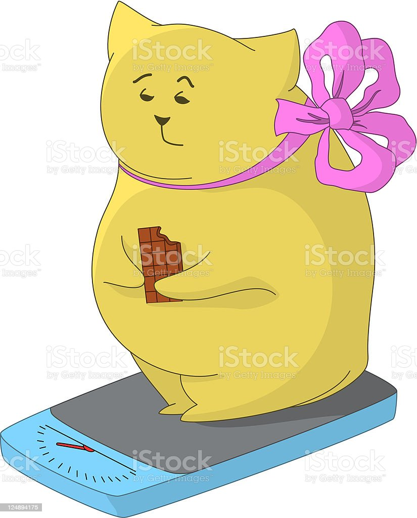 Fat man-pillow on the scales vector art illustration