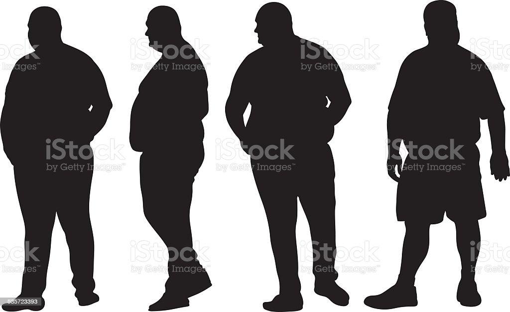 fat men vector art illustration
