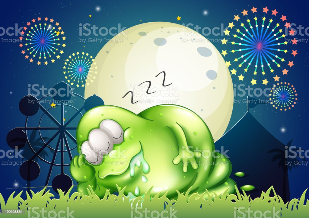 fat monster sleeping at carnival in the middle of night royalty-free stock vector art
