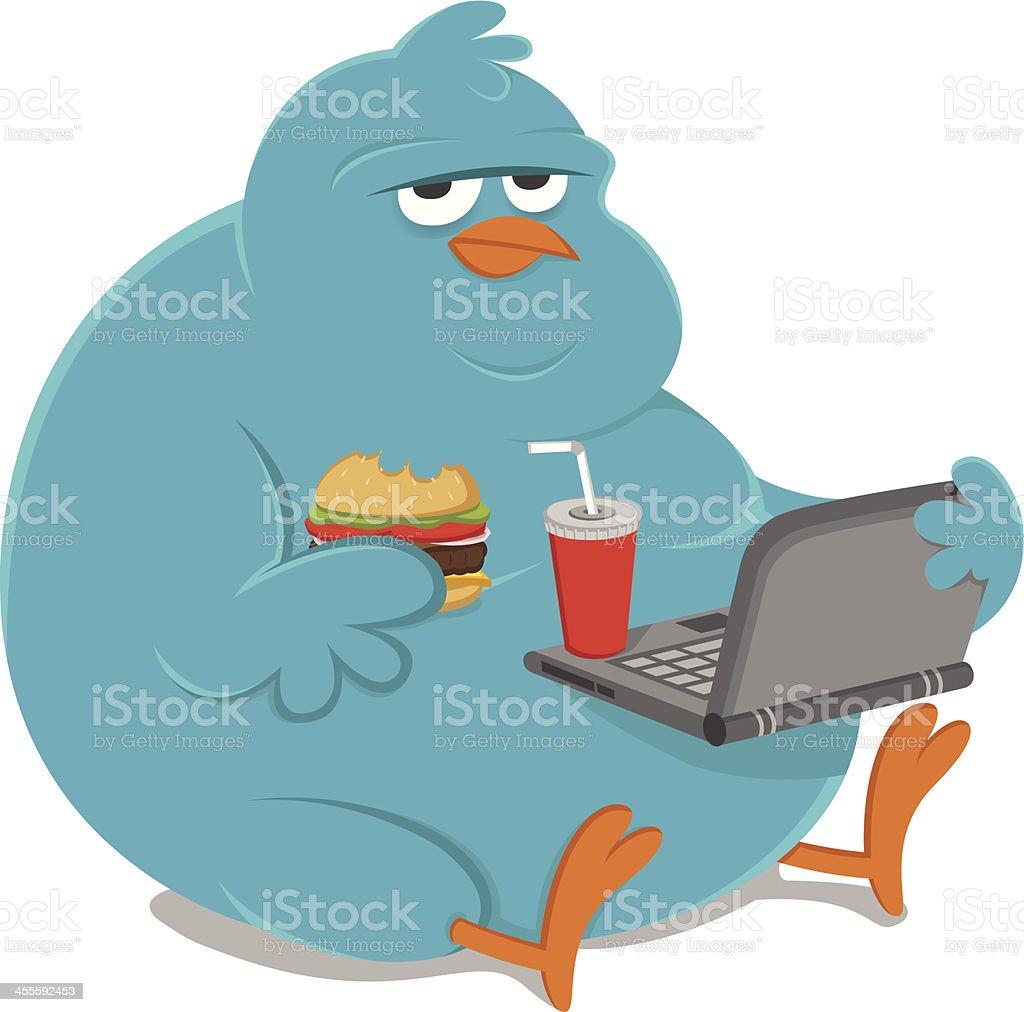 Fat overweight bluebird royalty-free stock vector art