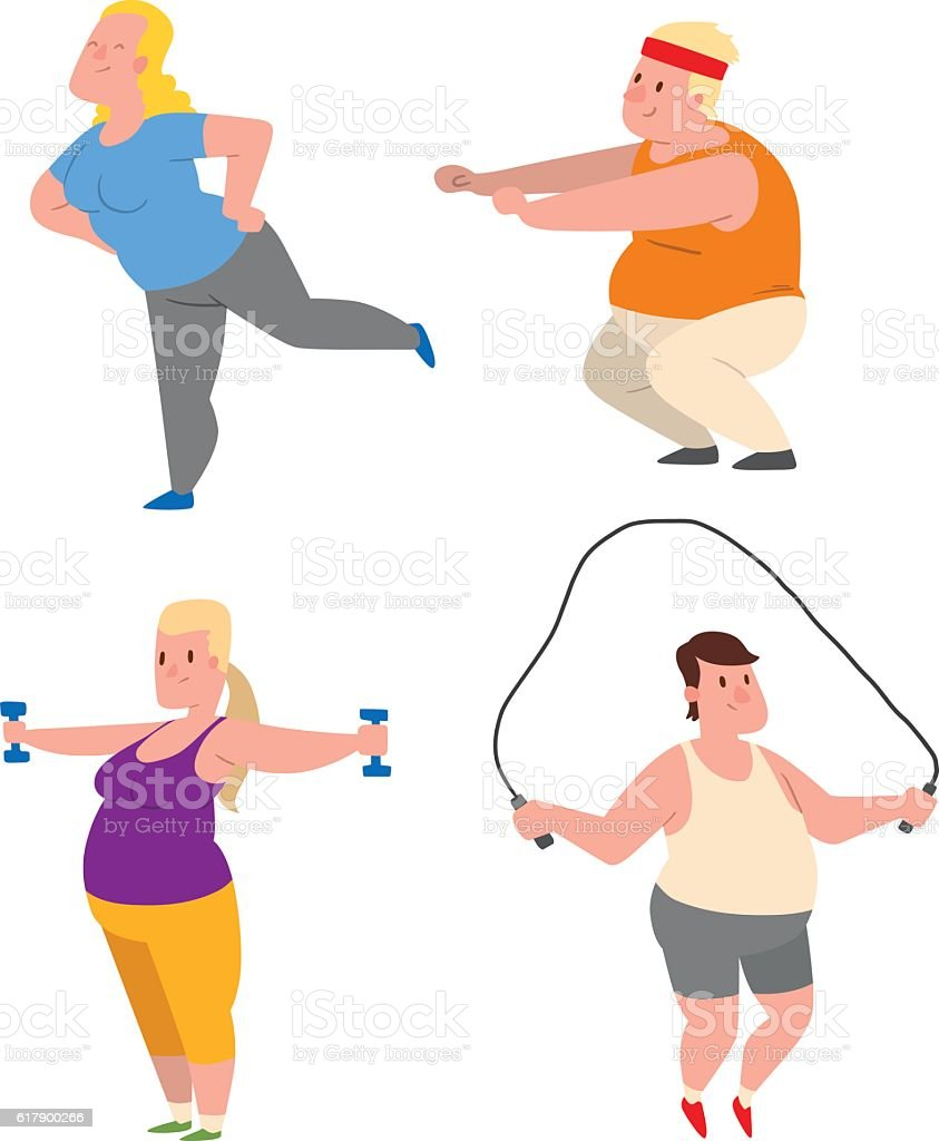 Fat people fitness gym vector vector art illustration