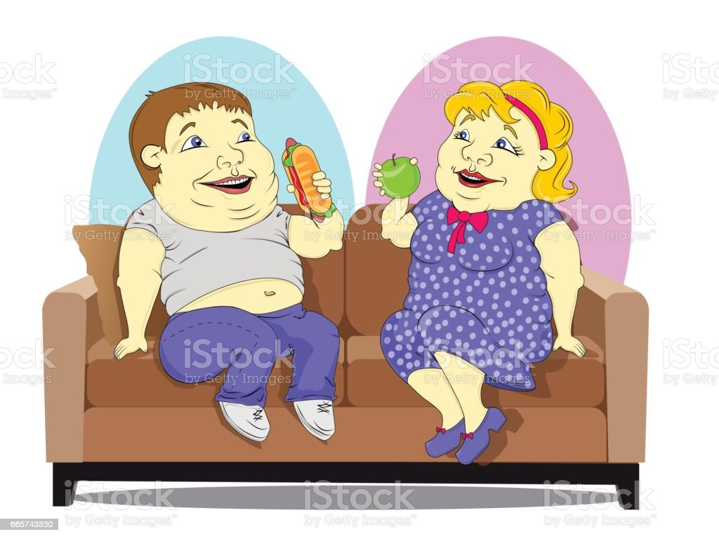 Fat people on the couch vector art illustration