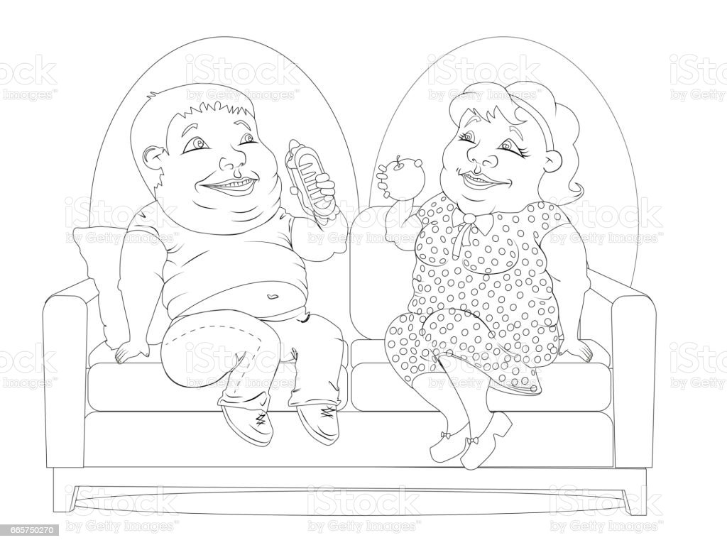 Fat people on the couch white and black vector art illustration