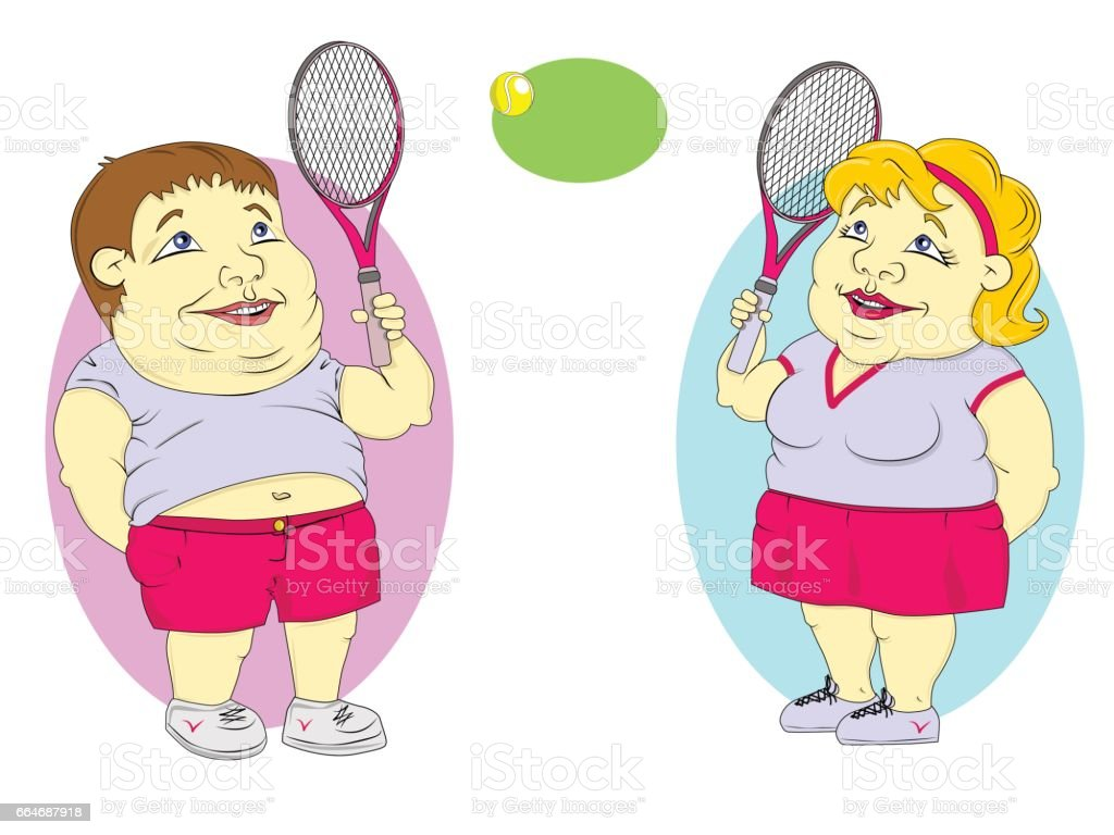 fat people playing tennis vector art illustration