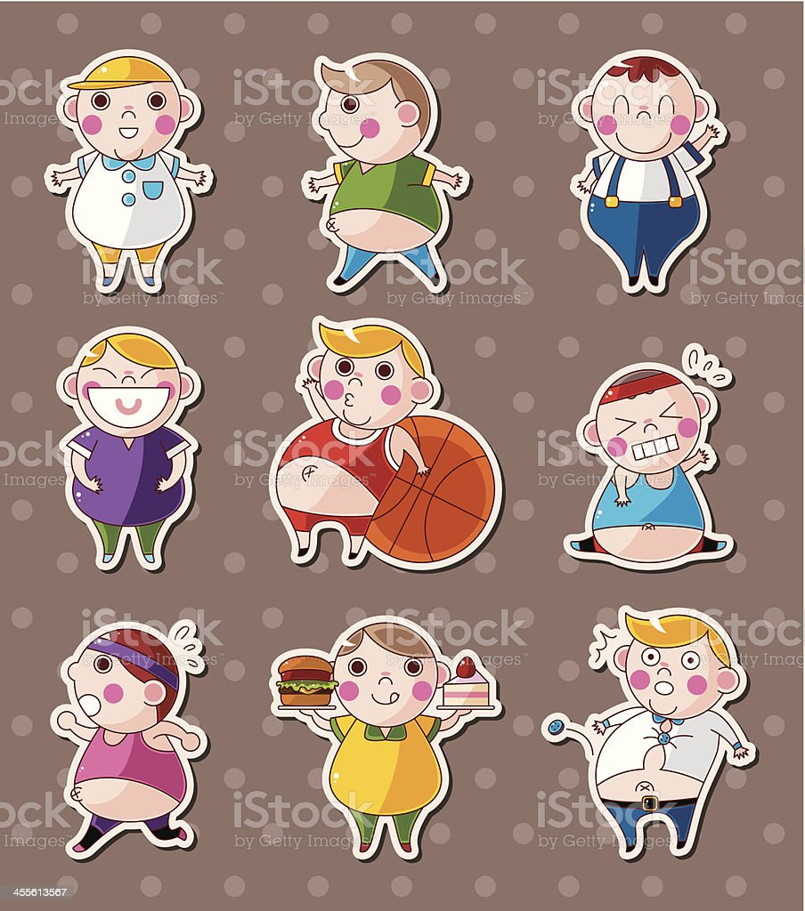 fat people stickers royalty-free stock vector art