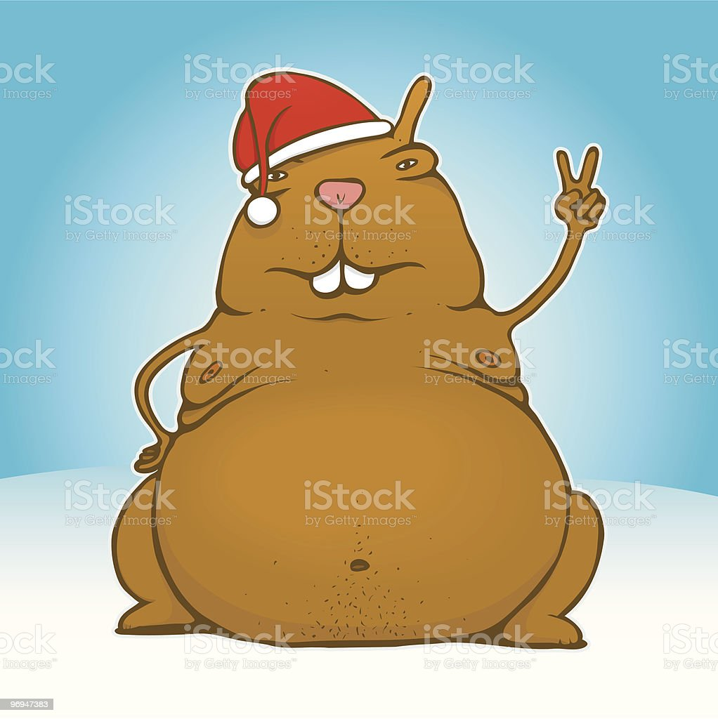 Fat victory/peace santa rodent royalty-free stock vector art