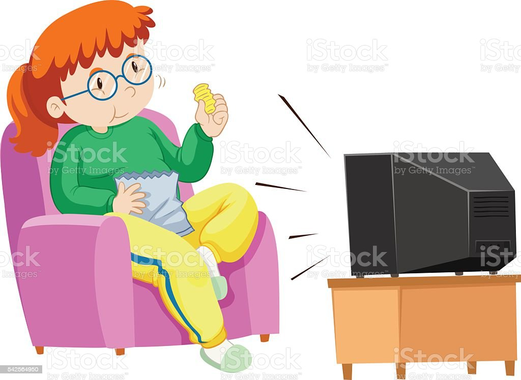 Fat woman eating chips while watching TV vector art illustration
