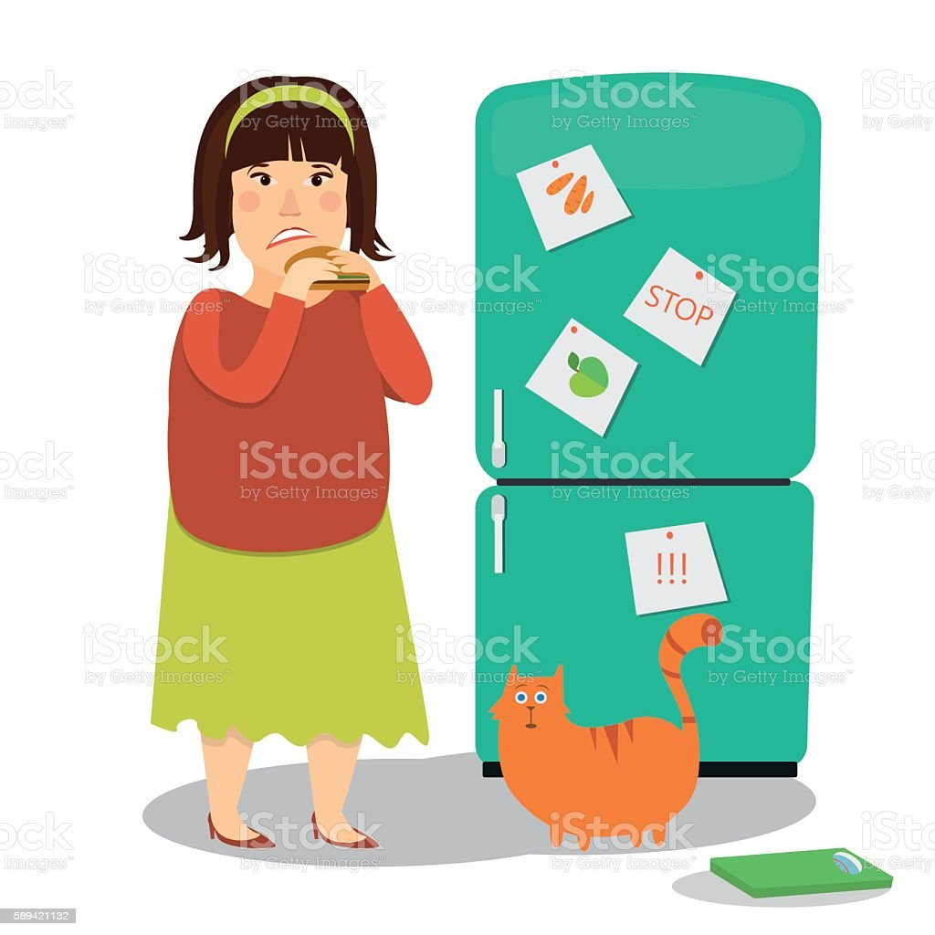 Fat woman eating hamburger next to fridge colorful image on vector art illustration