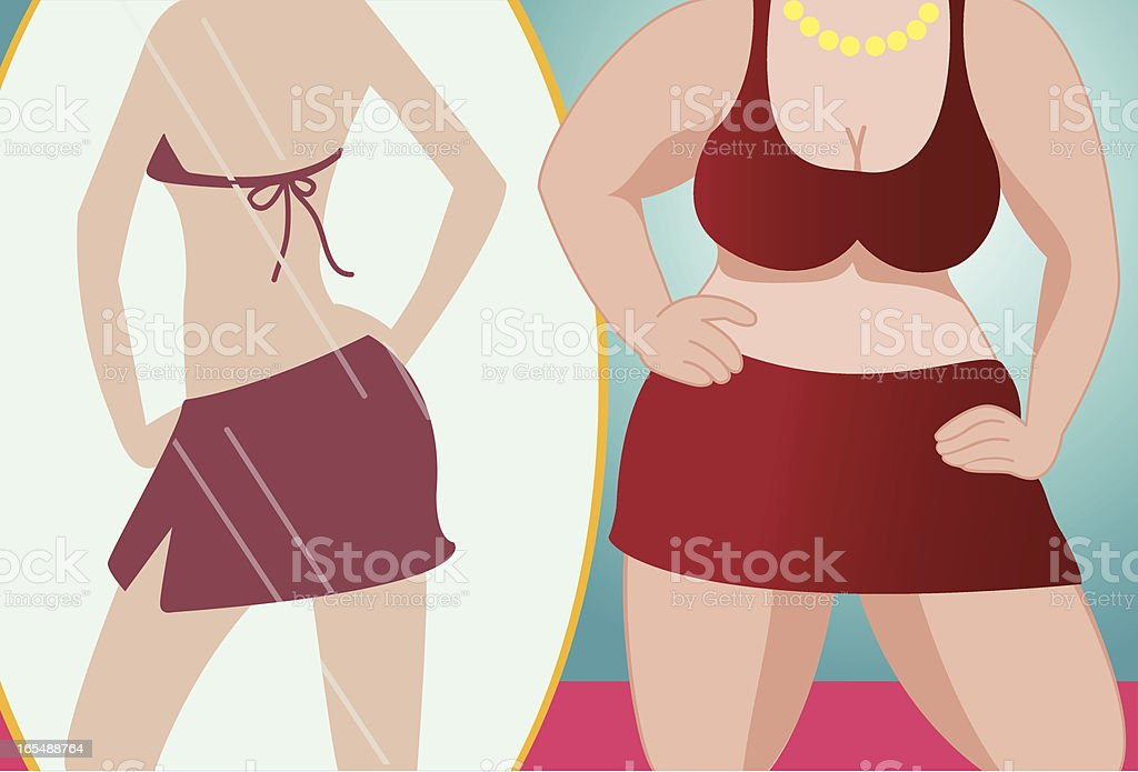 fat woman wishing to be slim royalty-free stock vector art