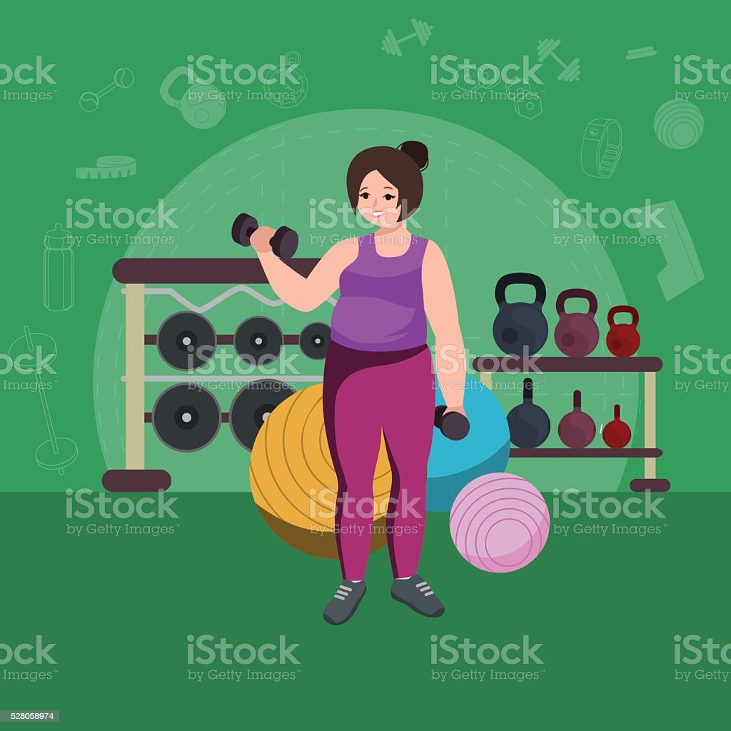 Fat woman. Young pretty cartoon style fitness girl in gym. vector art illustration
