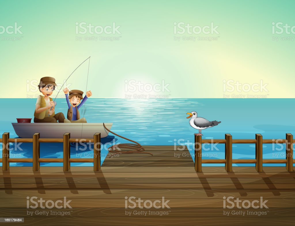 Father and a child fishing near the bridge royalty-free stock vector art