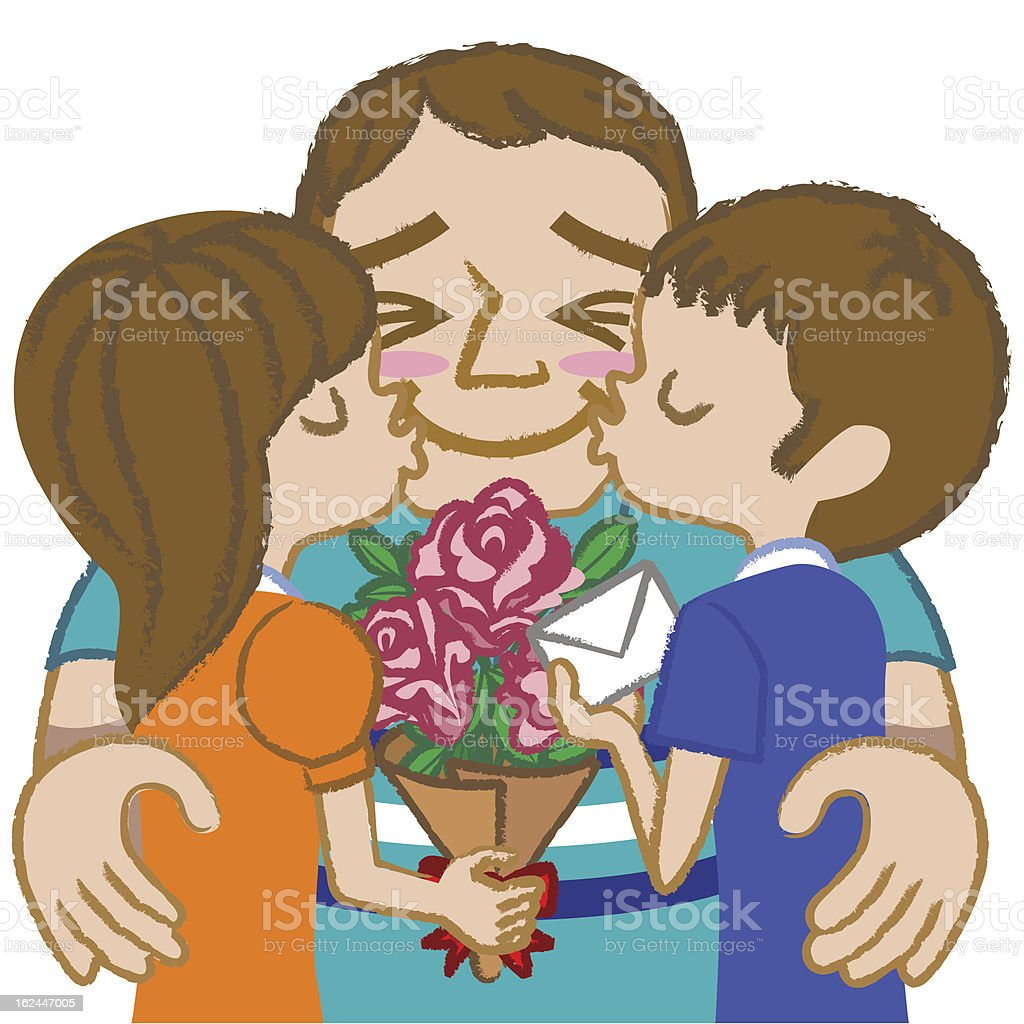Father and children- brunette royalty-free stock vector art