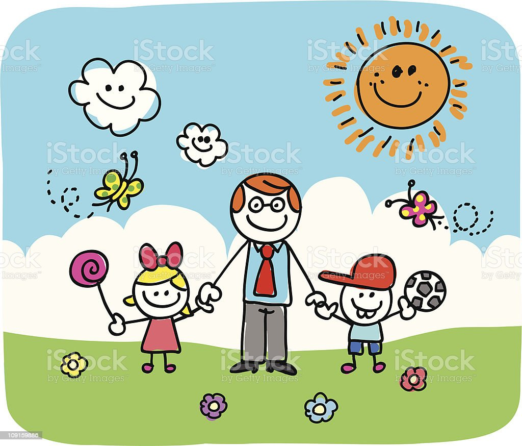 father and children doodle vector art illustration