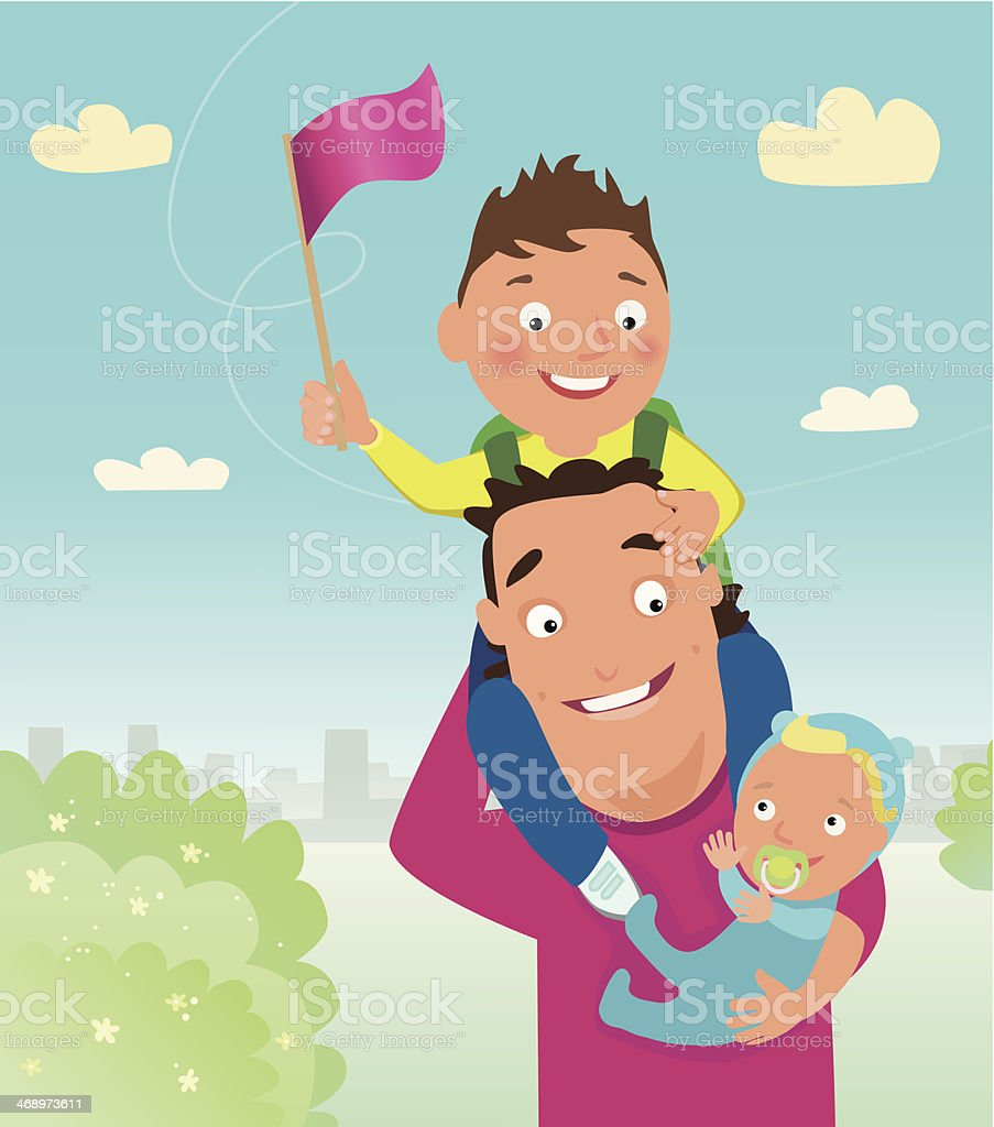 Father and children royalty-free stock vector art