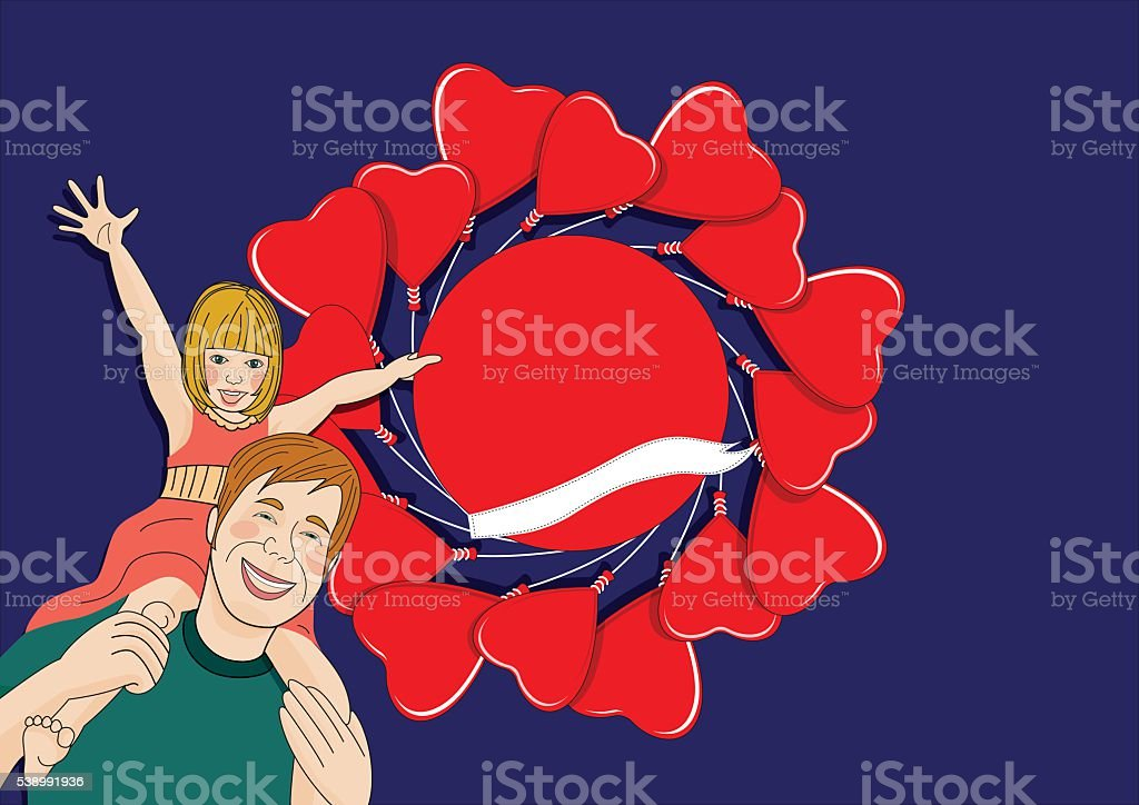 Father and daughter front of red heart shaped balloons vector art illustration