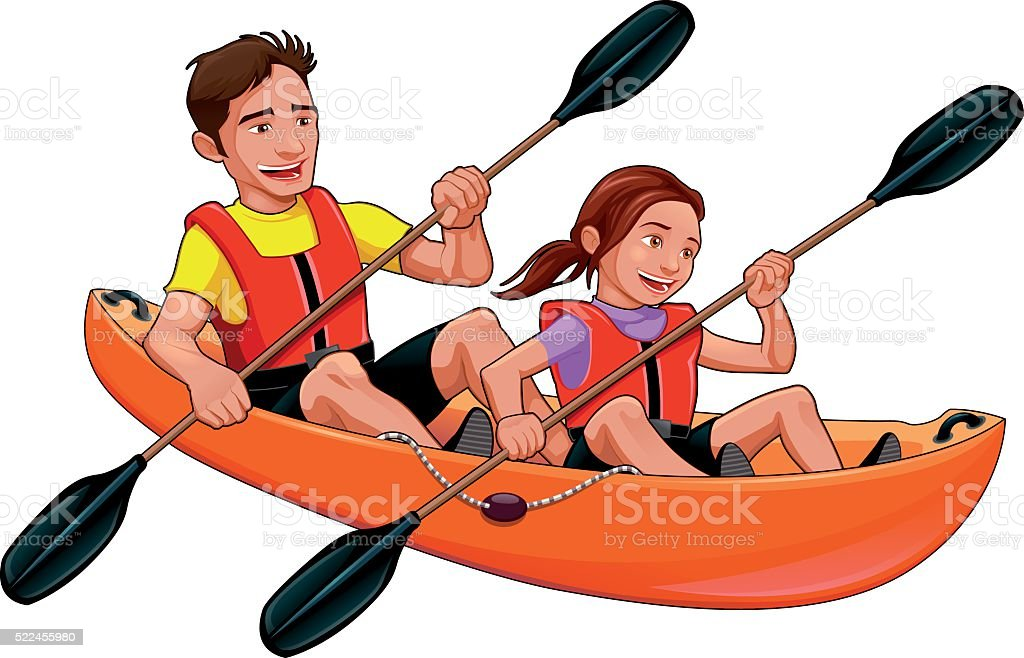 Father and daughter on the kayak vector art illustration