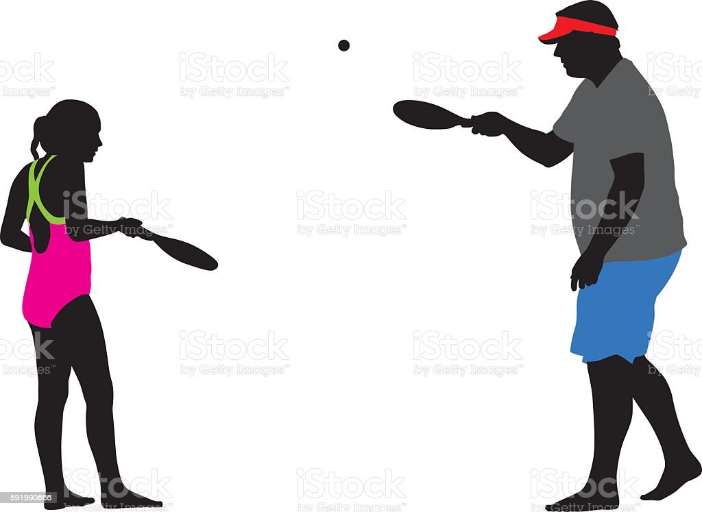 Father And Daughter Playing Paddle Ball vector art illustration