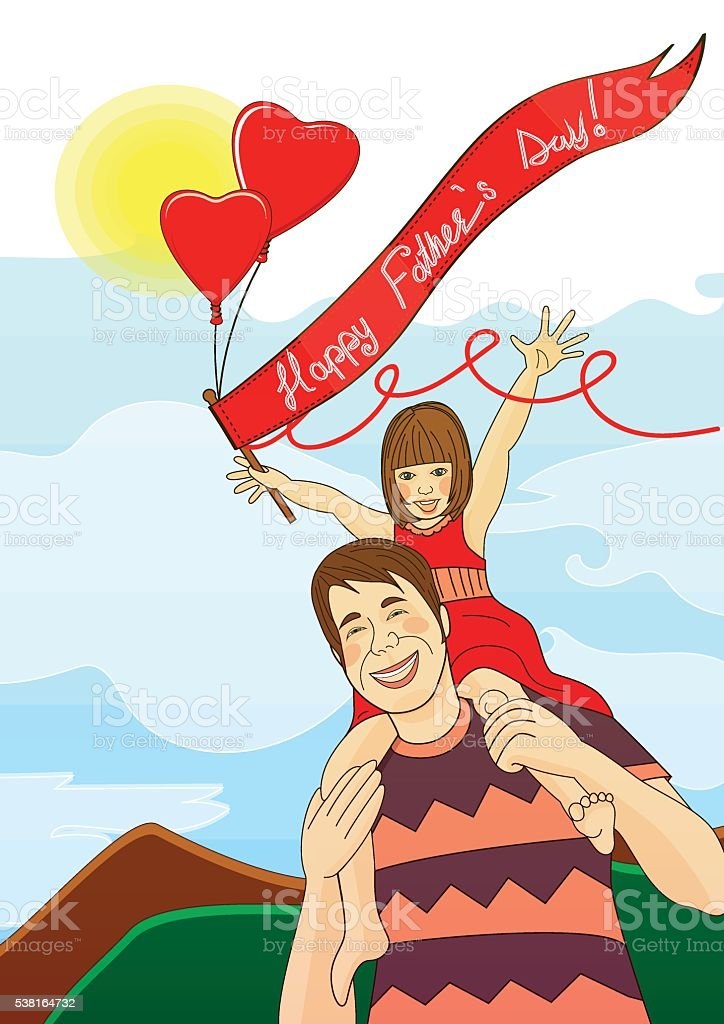 Father and daughter vector art illustration