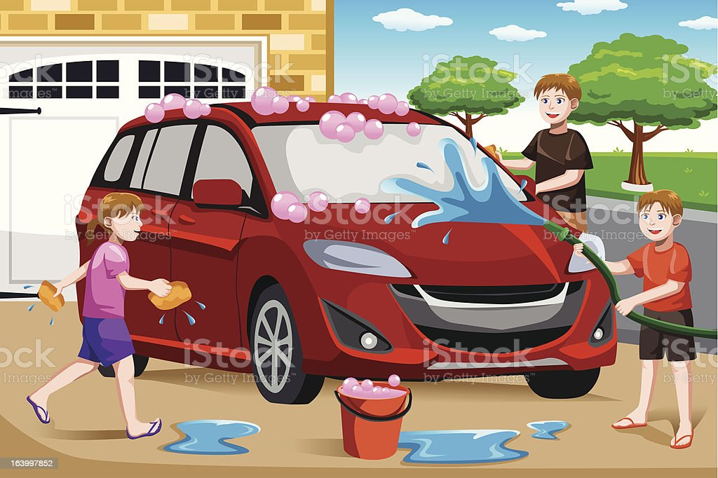 Father and his kids washing car royalty-free stock vector art