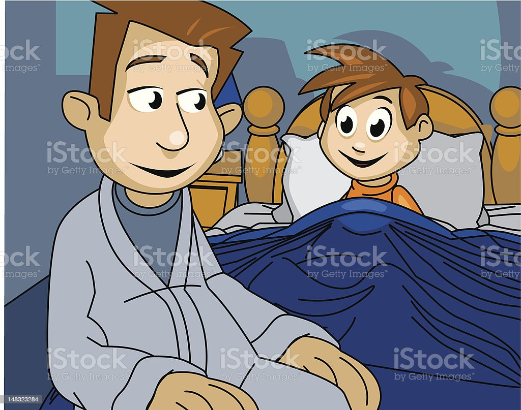 Father and son at bedtime royalty-free stock vector art