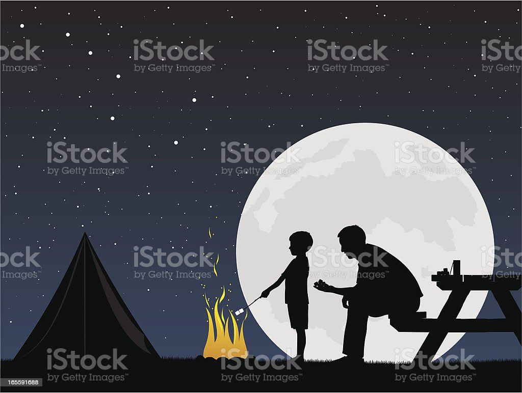 Father and son camping around campfire vector art illustration