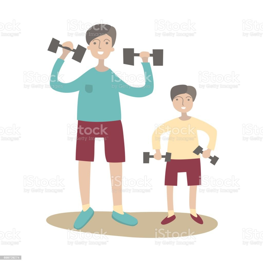 Father and son doing exercise with dumbbells. Family Sports and physical activity with children, joint active recreation. Vector illustration in flat style, isolated on white. vector art illustration