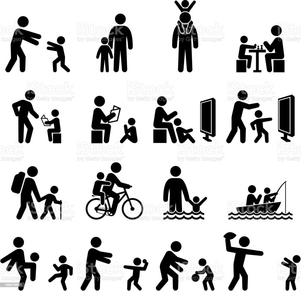 Father and son family time black & white icon set vector art illustration