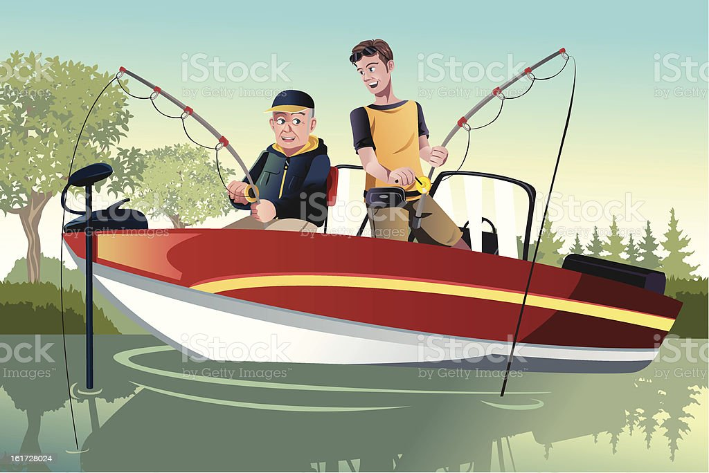 Father and son fishing royalty-free stock vector art