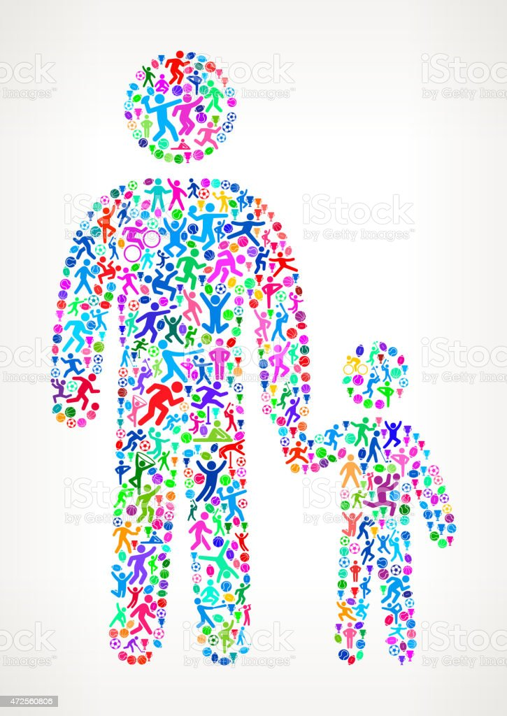 Father and Son Fitness Sports and Exercise pattern vector backgr vector art illustration