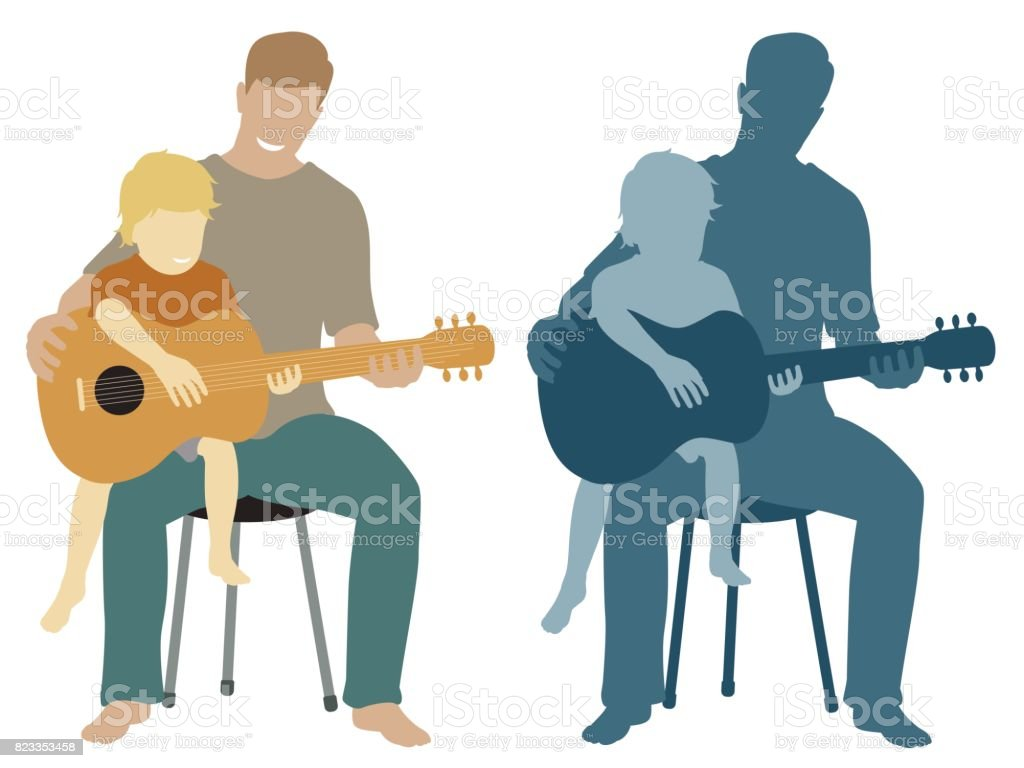 Father and son guitar vector art illustration