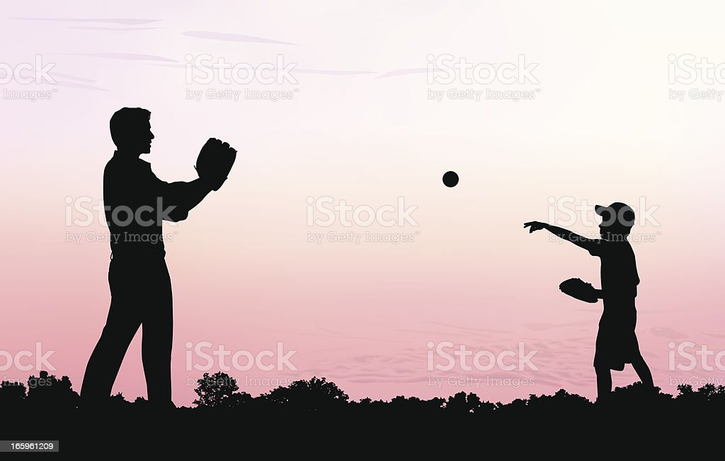 Father and Son Play Catch vector art illustration