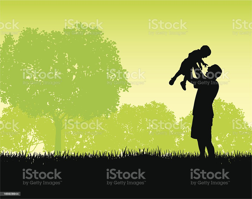 Father and Son Playing - Lifestyle Background royalty-free stock vector art