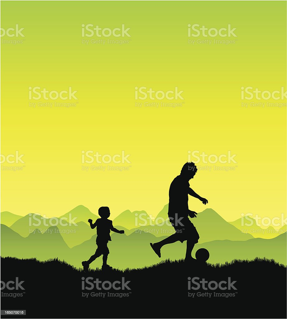 Father and son playing royalty-free stock vector art