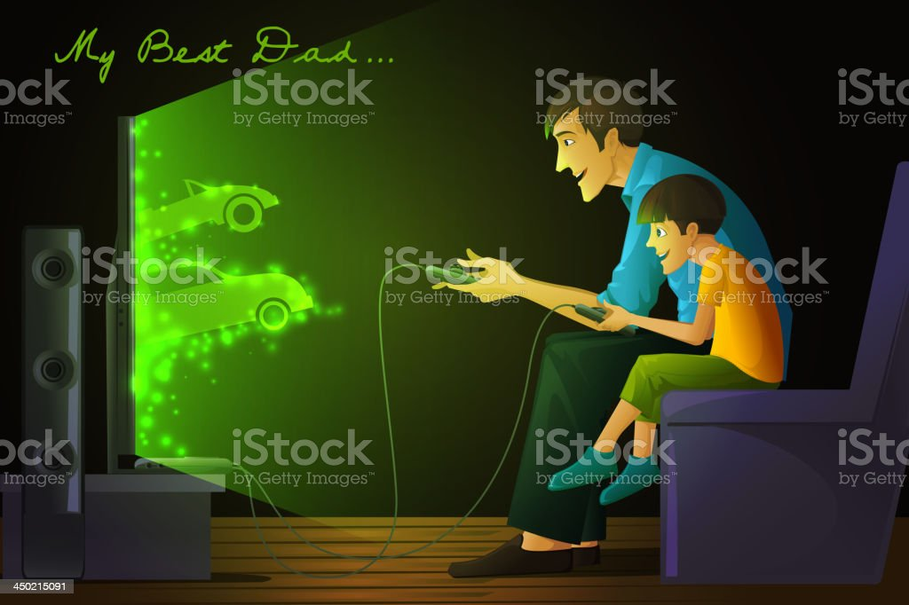 Father and Son playing Video Game royalty-free stock vector art