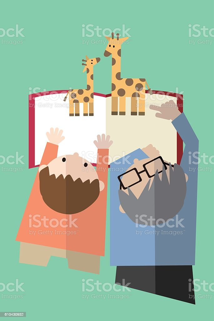 Father and son reading a book together vector art illustration