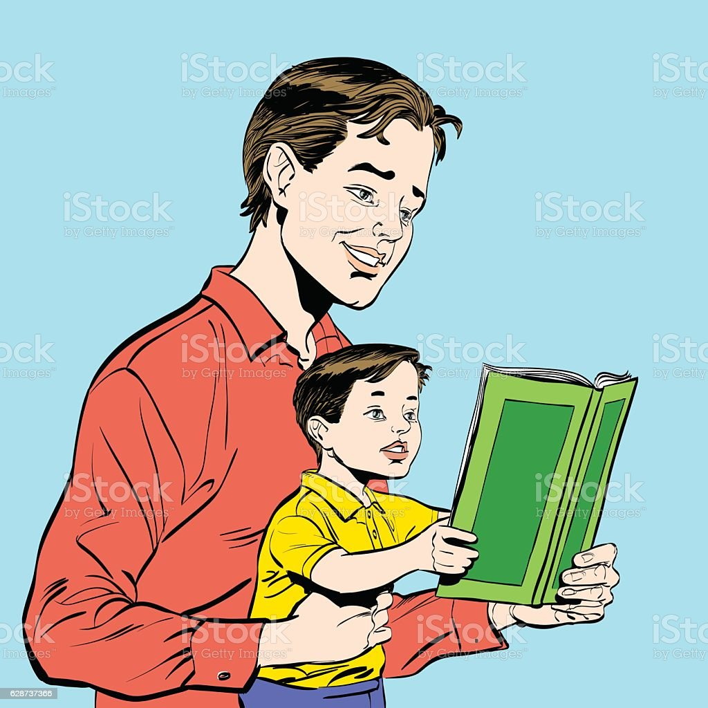 father and son reading a book vector art illustration