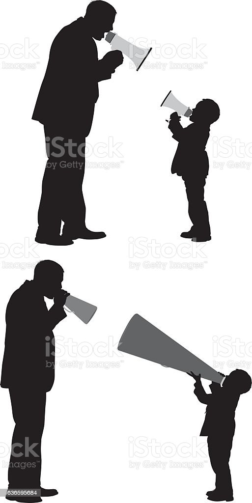 Father and son shouting with megaphone vector art illustration