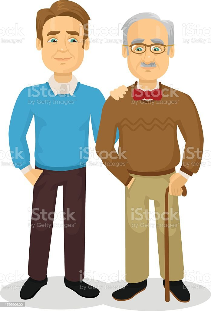 Father and son. Vector flat illustration vector art illustration
