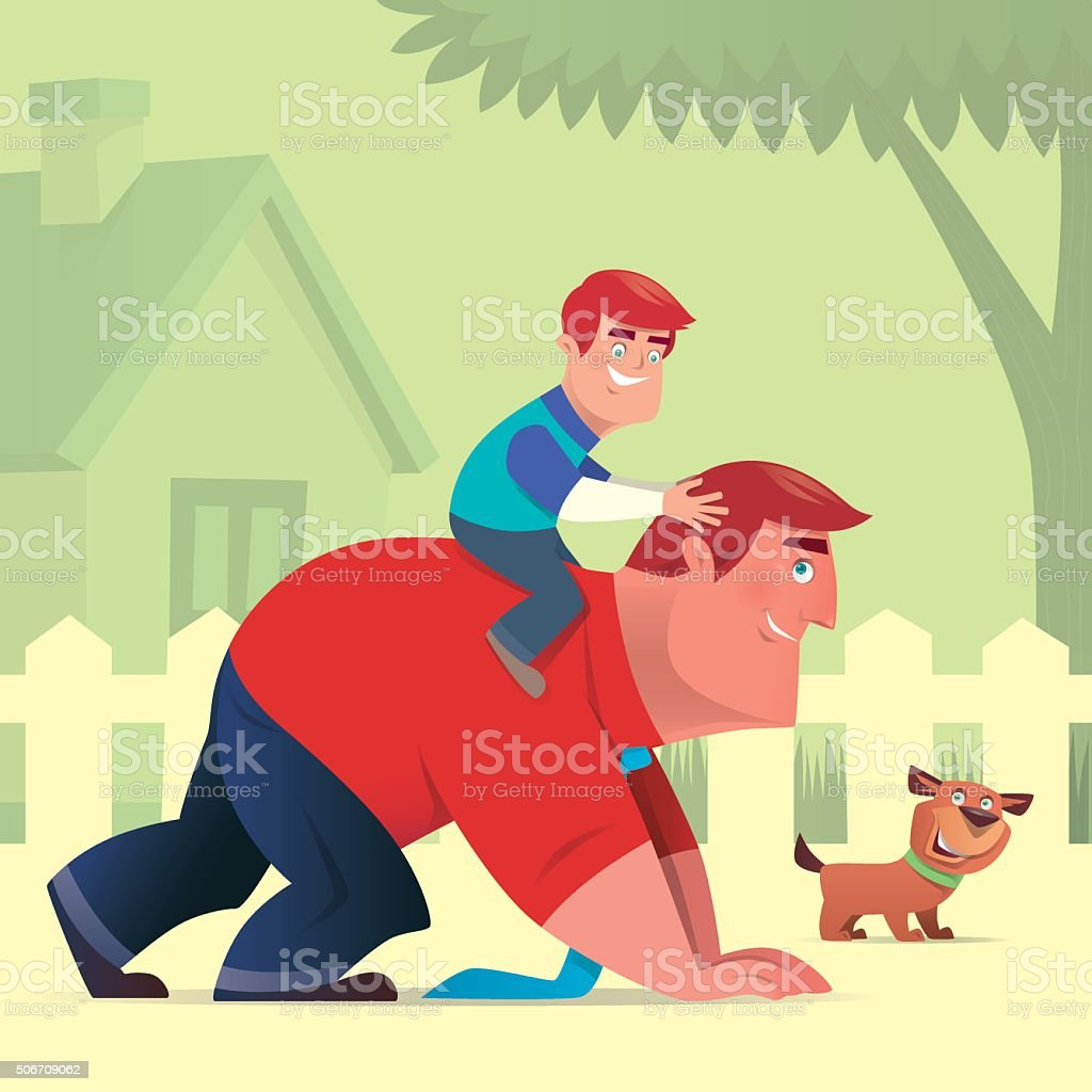 father and son vector art illustration