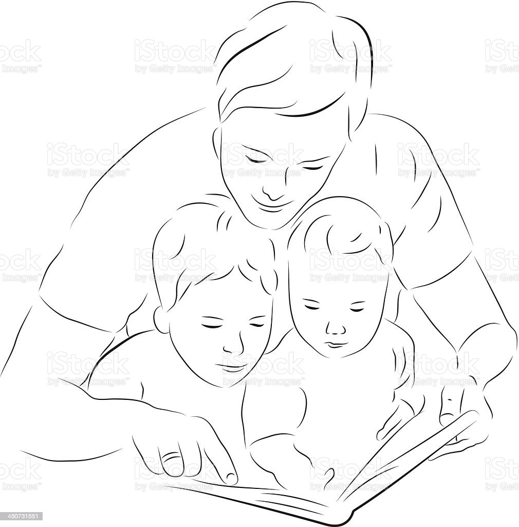 Father and sons reading a book royalty-free stock vector art