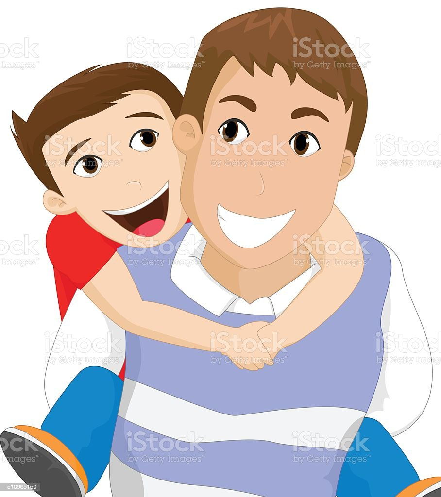 Father carrying his son vector art illustration