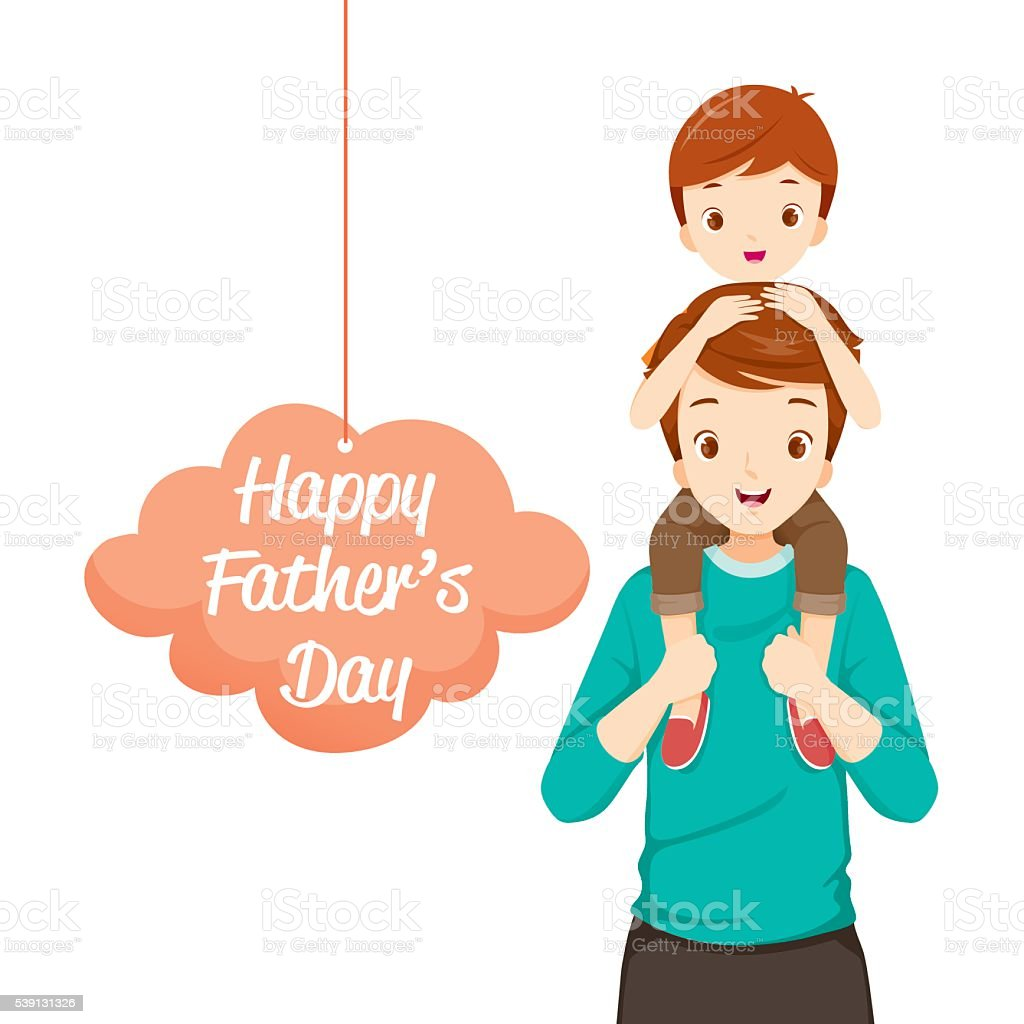 Father Carrying Son On His Shoulders vector art illustration