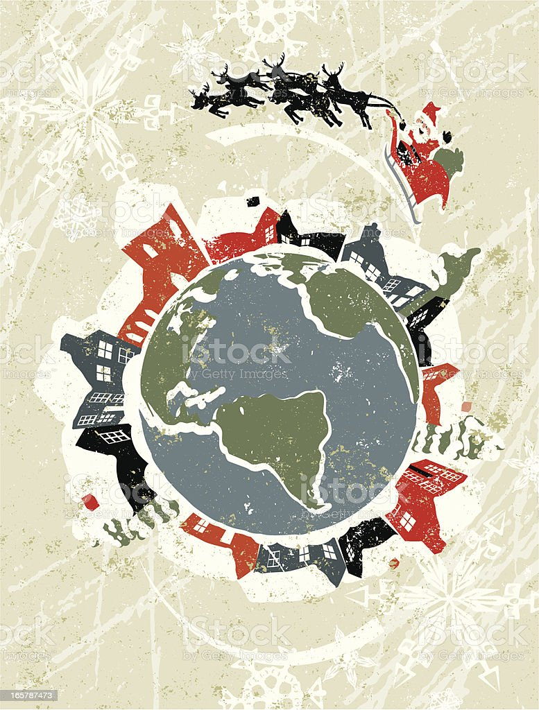 Father Christmas and Sleigh Flying over the Globe. royalty-free stock vector art