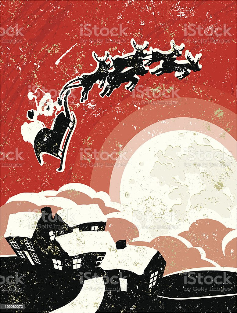 Father Christmas and Sleigh Flying over the Moon. royalty-free stock vector art