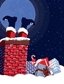 Father Christmas Feet Poking Out of Chimney