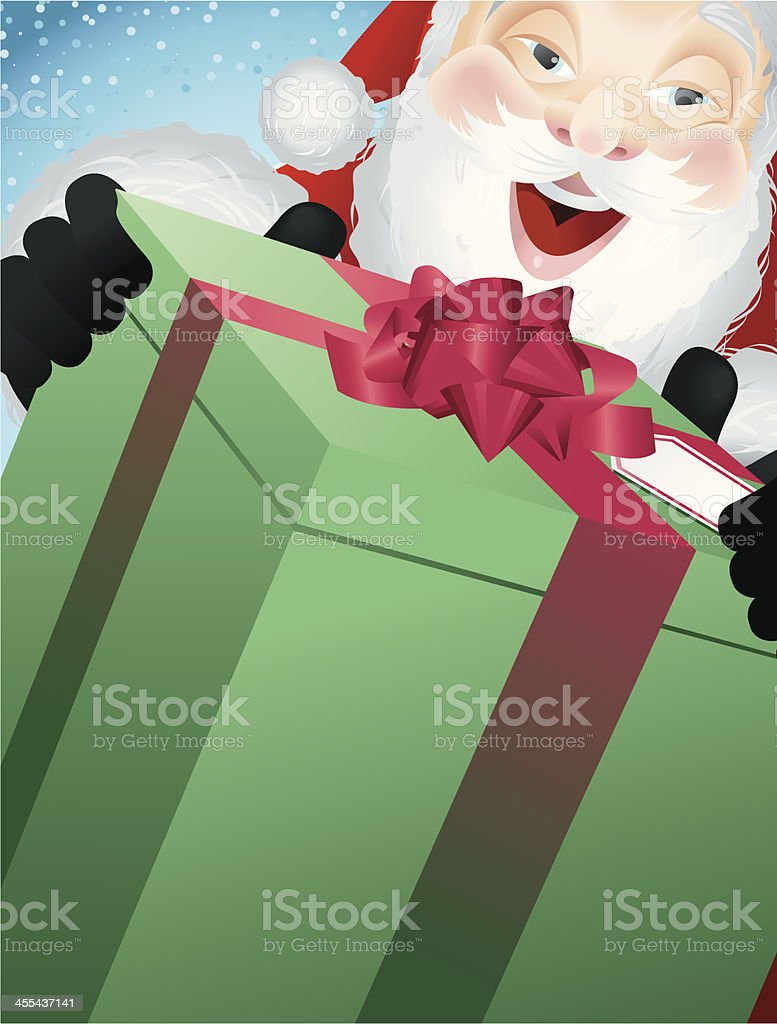 Father Christmas Handing out a Gift Close-Crop Vertical royalty-free stock vector art