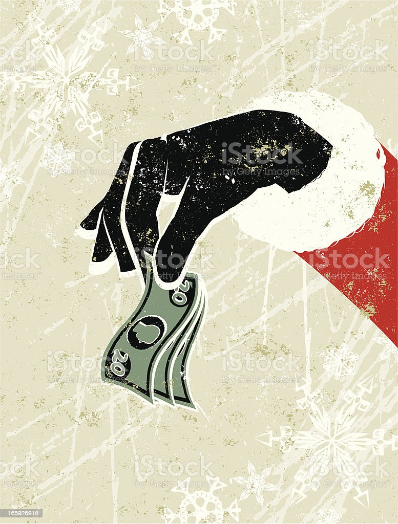 Father Christmas Holding a Bunch of Tiny Bank Notes royalty-free stock vector art