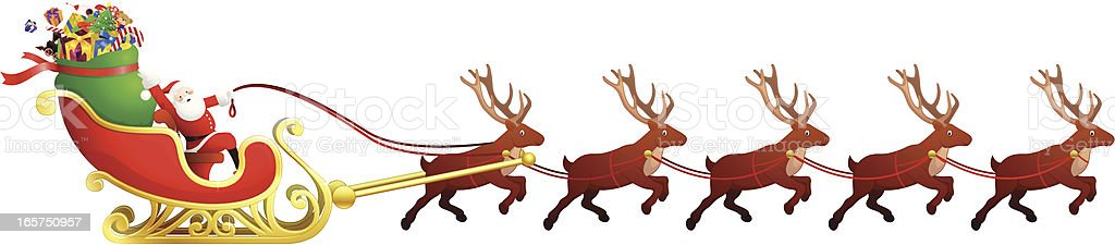 Father Christmas in sleigh being pulled by reindeer royalty-free stock vector art